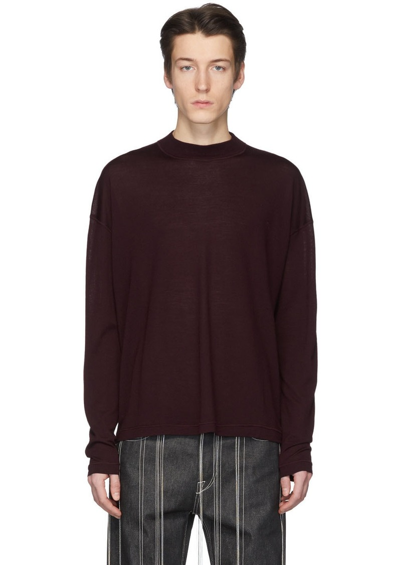 Jil Sander Burgundy Virgin Wool Sweater