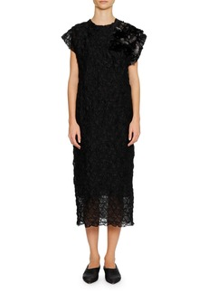 Jil Sander Cap-Sleeve Crushed-Stitch Texture Shift Dress with Paillette Corsage