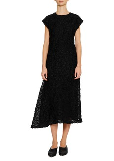 Jil Sander Cap-Sleeve Crushed-Stitched Texture A-Line Midi Cocktail Dress