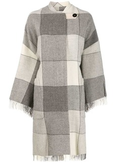 Jil Sander checked tassel coat