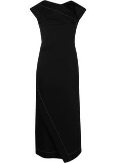 Jil Sander contrast stitching draped dress