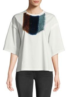 Jil Sander Crewneck Half-Sleeves T-Shirt with Detachable Paillette Bib