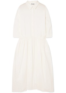 Jil Sander Crinkled Silk-blend Midi Dress