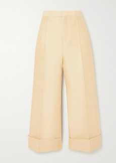 Jil Sander Cropped Wool And Silk-blend Straight-leg Pants