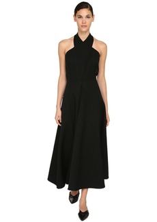 Jil Sander Crossed Grain De Poudre Midi Dress