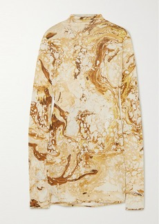 Jil Sander Draped Printed Silk-jersey Top