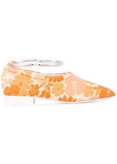 Jil Sander floral ankle strap loafers