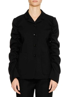 Jil Sander Four-Button Shirred-Sleeves Wool Jacket
