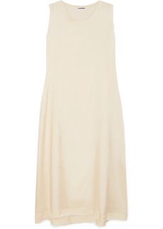 Jil Sander Frayed Stretch-satin Midi Dress