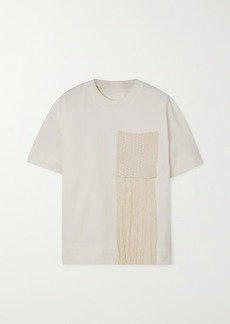 Jil Sander Fringed Crochet-paneled Cotton-jersey T-shirt