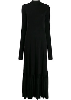 Jil Sander gathered-hem high-neck maxi dress