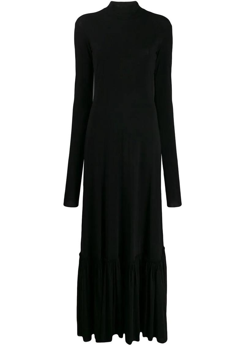 Jil Sander gathered-hem high-neck maxi dress
