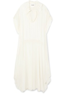 Jil Sander Gathered Ruffled Cotton And Silk-blend Dress