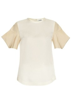Jil Sander Acorn structured-sleeve silk-satin top