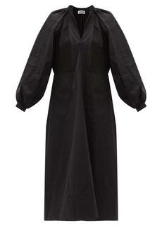 Jil Sander Balloon-sleeve cotton-poplin midi dress