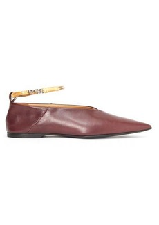 Jil Sander Bamboo-anklet leather flats