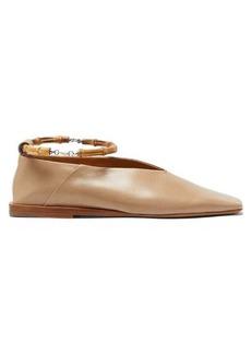 Jil Sander Bamboo-anklet leather flats