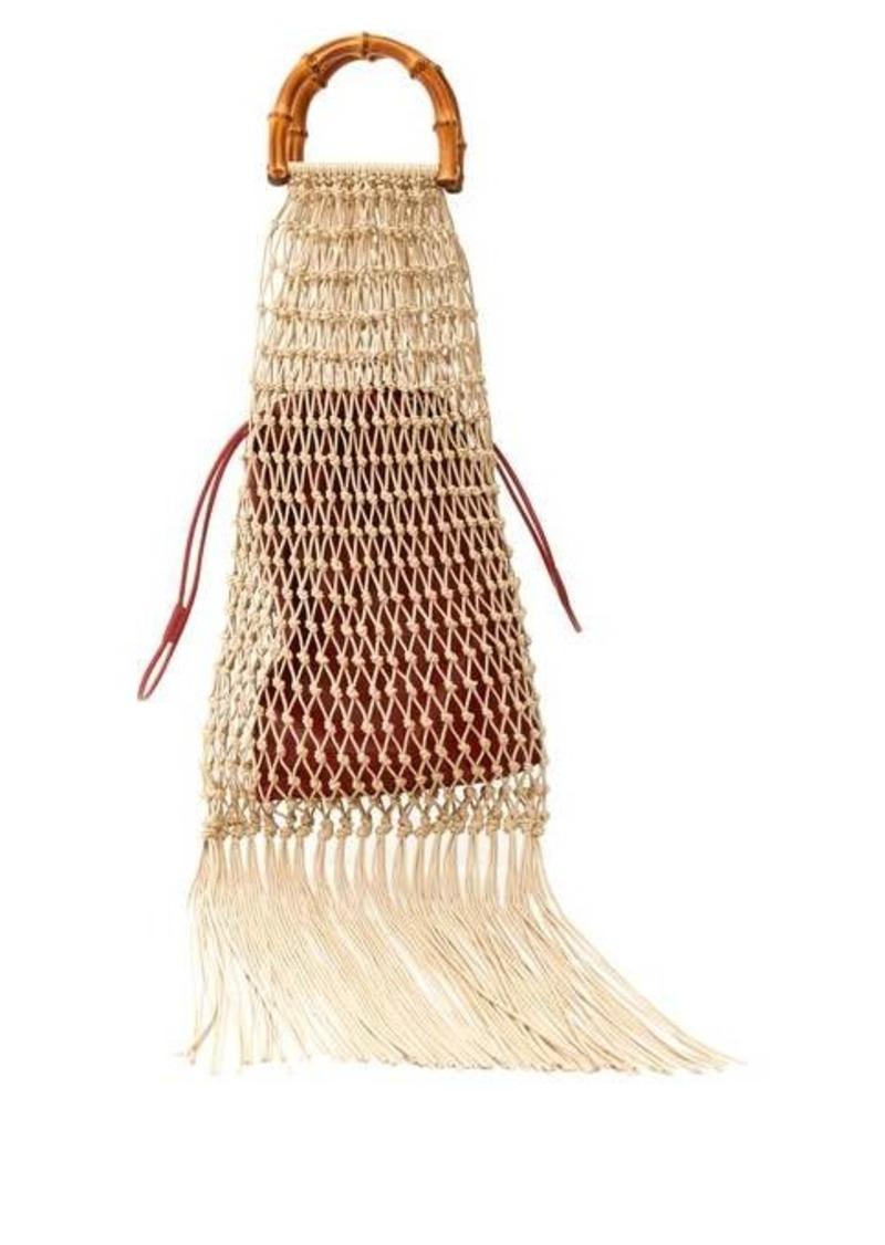 Jil Sander Bamboo-handle macramé string bag