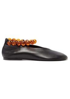 Jil Sander Beaded-anklet leather flats