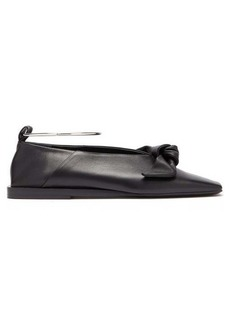 Jil Sander Bow ankle-bracelet leather ballet flats
