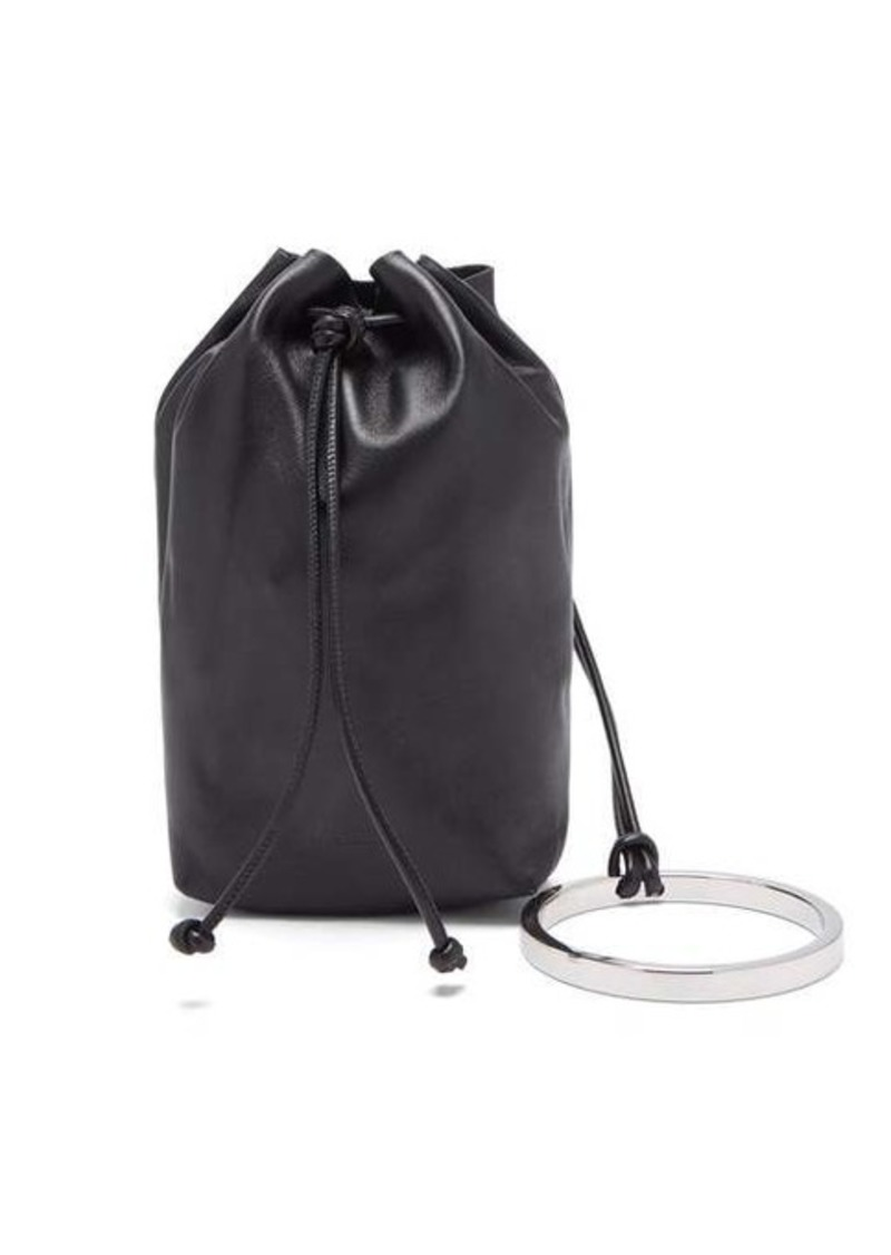 Jil Sander Bracelet-handle drawstring leather pouch