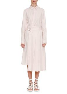 Jil Sander Button-Front Belted Long-Sleeve Shirtdress with Asymmetric Skirt