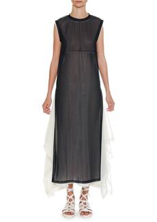 Jil Sander Crewneck Sleeveless Two-Tone Layered Sheer Tulle Midi Dress