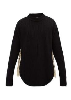 Jil Sander Crochet-appliqué rib-knitted wool-blend sweater