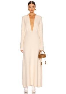 Jil Sander Deep V Long Sleeve Dress