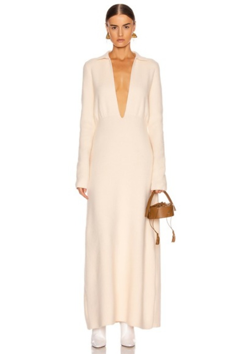 Jil Sander Deep V Long Sleeve Dress