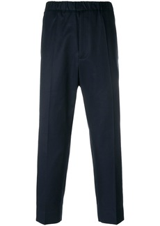 Jil Sander elastic waistband cropped trousers - Blue