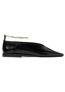 Jil Sander Embellished Glossed-leather Ballet Flats
