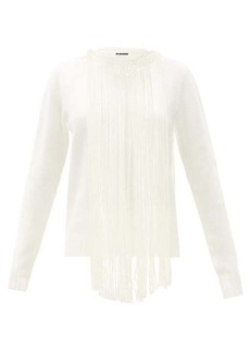 Jil Sander Fringed-collar boiled-wool sweater