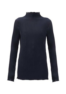 Jil Sander Funnel-neck plissé-jersey top