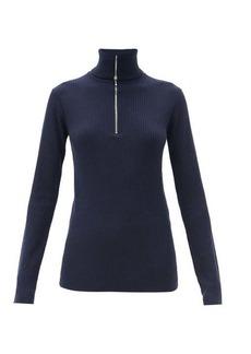 Jil Sander Half-zip ribbed wool sweater