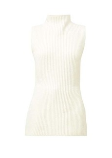 Jil Sander High-neck ribbed-knit sleeveleess sweater