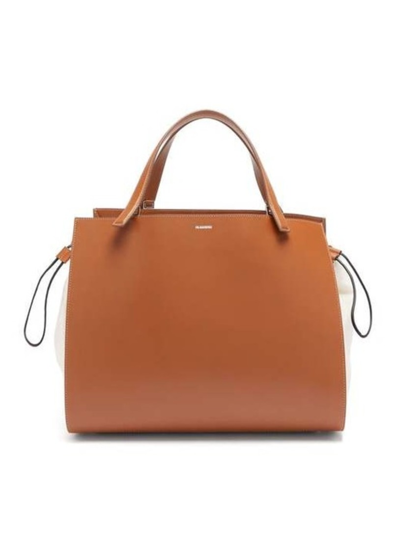 Jil Sander Leather and canvas drawstring handbag