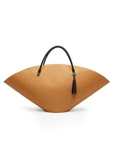 Jil Sander Leather-trim raffia tote bag
