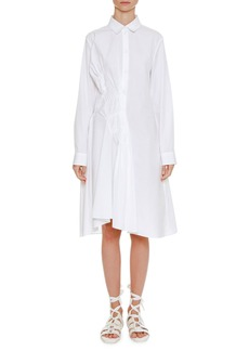 Jil Sander Long-Sleeve Button-Front Shirtdress with Asymmetric Side Pleating