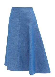 Jil Sander Mia asymmetric cotton-blend midi skirt