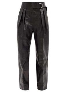 Jil Sander Napoleon pleated leather wide-leg trousers