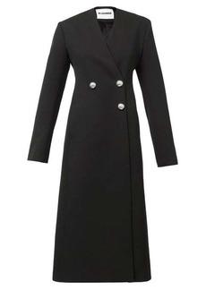 Jil Sander Nelly V-neck double-breasted wool-barathea coat