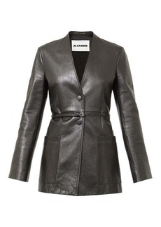 Jil Sander Nessa collarless single-breasted leather jacket
