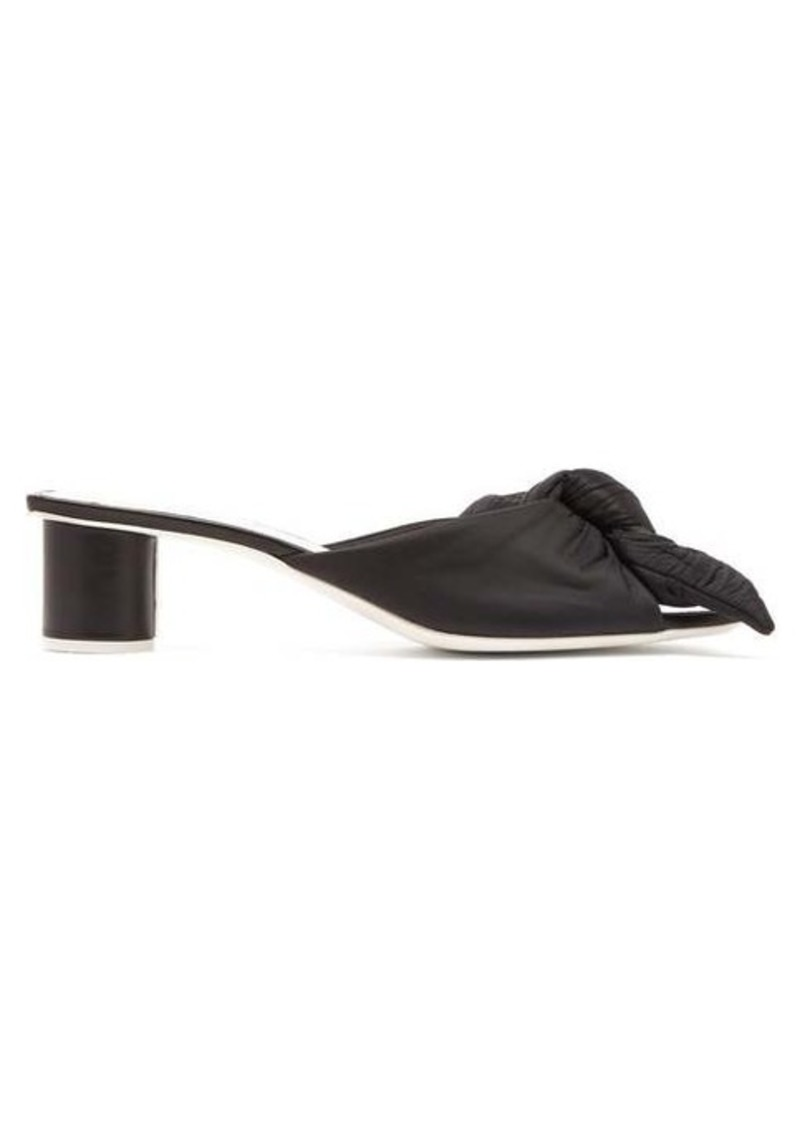 Jil Sander Padded knot-front satin and leather mules