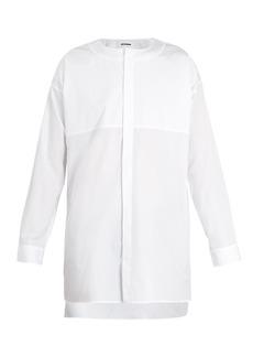 Jil Sander Piazza step-hem collarless cotton shirt