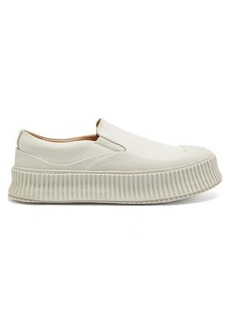 Jil Sander Platform corrugated-sole leather trainers