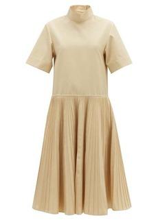 Jil Sander Pleated-skirt cotton-blend dress
