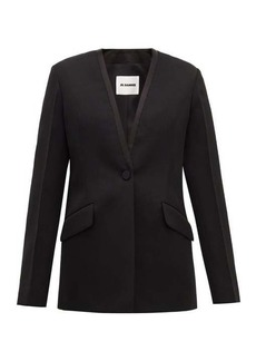 Jil Sander P.M. collarless wool tuxedo jacket
