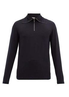 Jil Sander Quarter-zip cotton-blend long-sleeved T-shirt