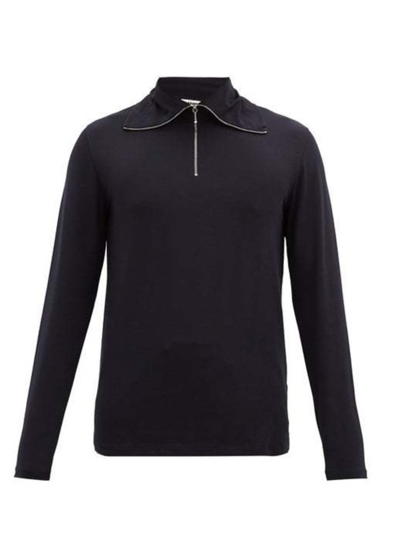 Jil Sander Quarter-zip cotton-blend long-sleeved T-shirt